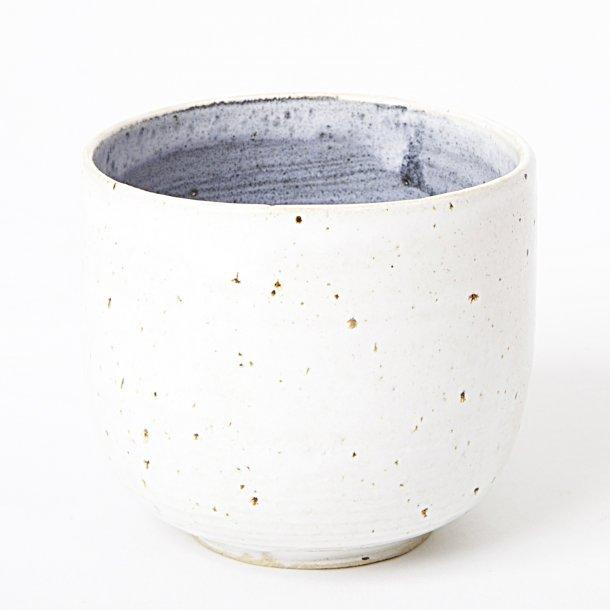 Tasja P. ceramics - Keramik håndlavet kop, hvid og blå, cappuccino