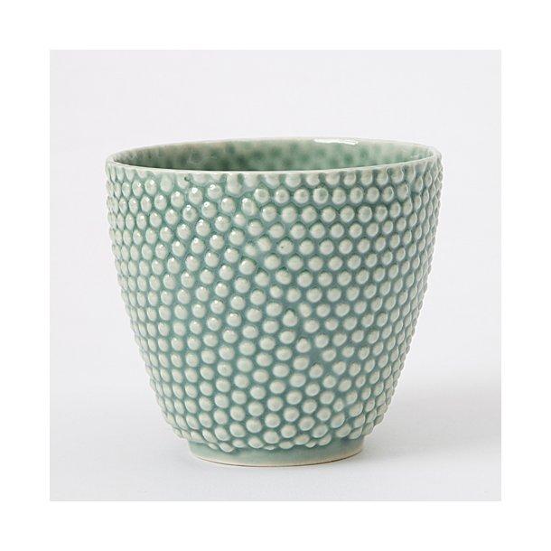 Hanne Bertelsen - Keramik håndlavet urtepotteskjuler Prik, mini, gråturkis