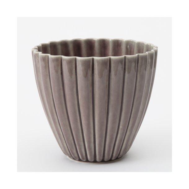 Hanne Bertelsen - Keramik urtepotteskjuler Rille, mellem, bordeaux