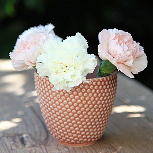 Hanne Bertelsen - Keramik håndlavet urtepotteskjuler Prik, mini, koral