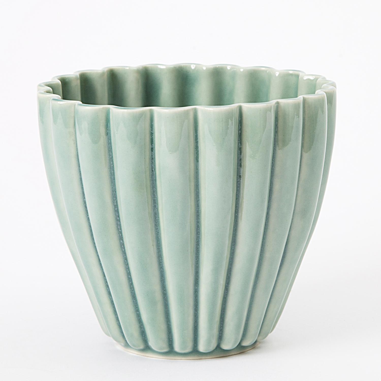 keramik urtepotteskjuler Hanne Bertelsen   Keramik urtepotteskjuler Rille, lille, gråturkis  keramik urtepotteskjuler