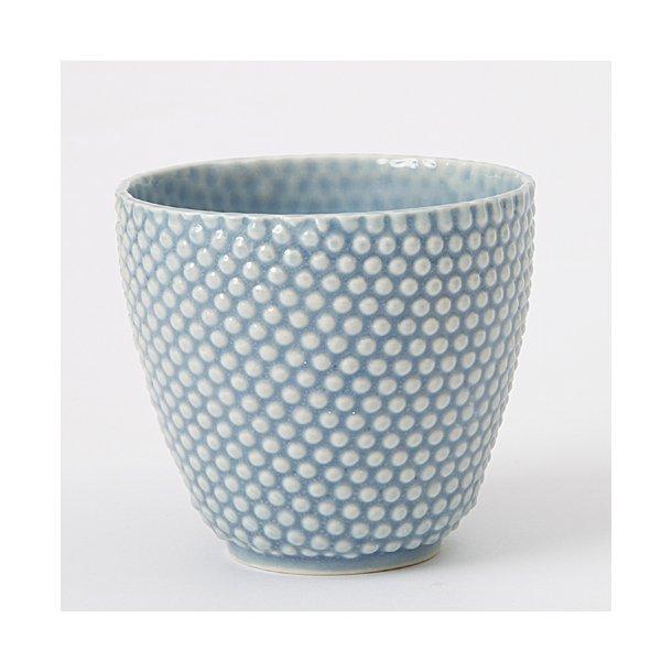 Hanne Bertelsen - Keramik håndlavet urtepotteskjuler Prik, mini, blå