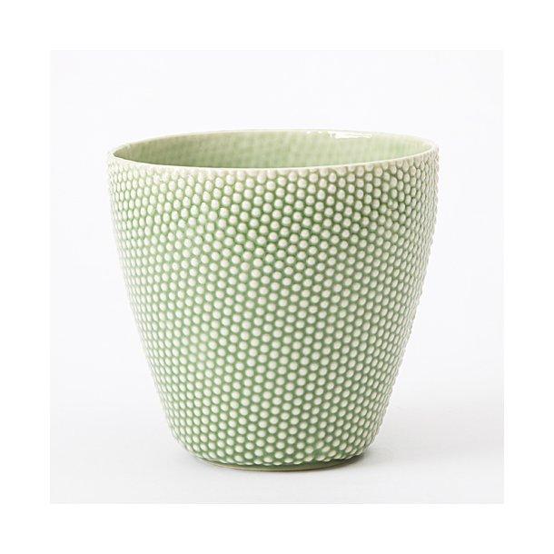 Hanne Bertelsen - Keramik håndlavet urtepotteskjuler Prik, mellem, grøn