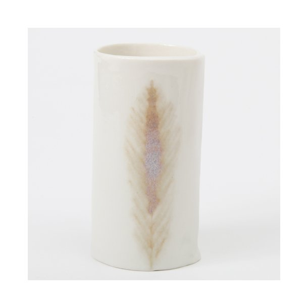 Helene Søs Schjødts - Keramik håndlavet vase fjer, svag rosa