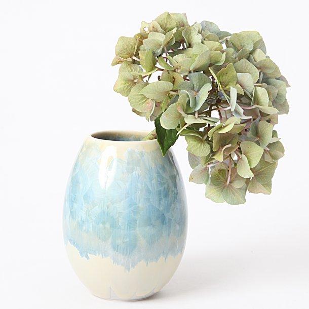 Wauw Design - Keramik håndlavet vase lille, crystal glaze, turkisblå