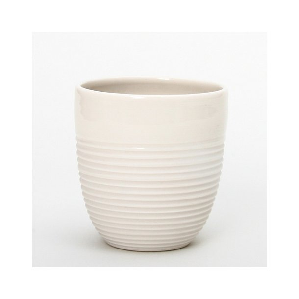 Wauw Design - Keramik håndlavet kop raw kaffe, hvid med riller