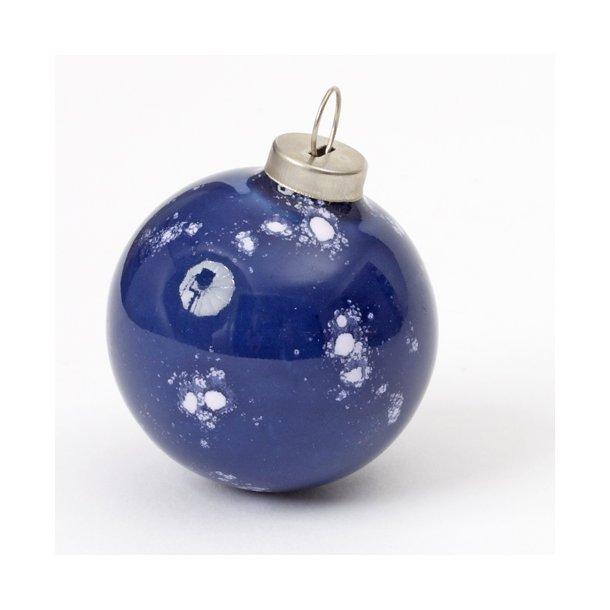 Wauw design - Keramik håndlavet julepynt julekugle, blå med prikker