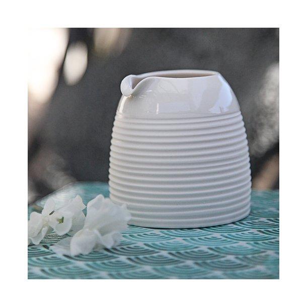 Wauw design - Keramik håndlavet mælkekande raw small, hvid med riller