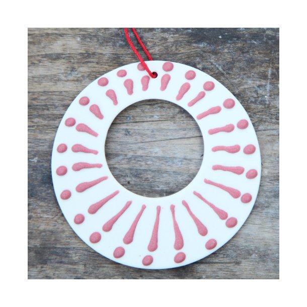 Wauw design - Keramik håndlavet julepynt julekugle, rød