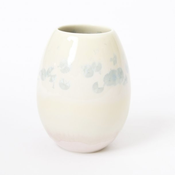 Wauw Design - Ceramic handmade vase crystal small, light pink/creme/light blue no 1